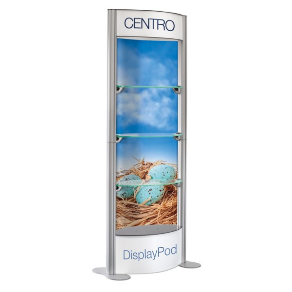 Centro display Pod with printed header, Base and rear infill panels (each unit is supplied with 8 clear panels )