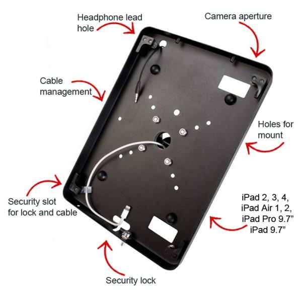 Secure iPad enclosure features