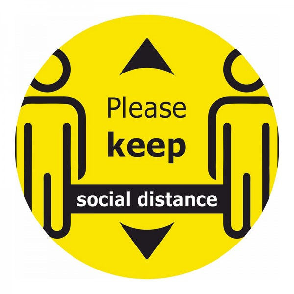 Please Keep Social Distance Zoomed Floor Sticker - Yellow Background