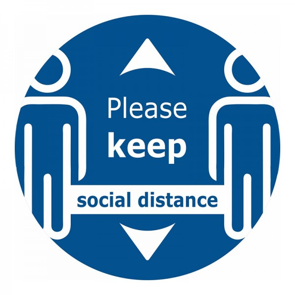 Please Keep Social Distance Zoomed Floor Sticker - Blue Background