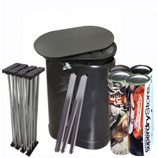 Pop up with free storage drum