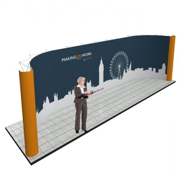Huge back wall created using linked pop up stands