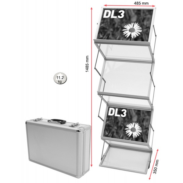Double sided literature rack dimensions