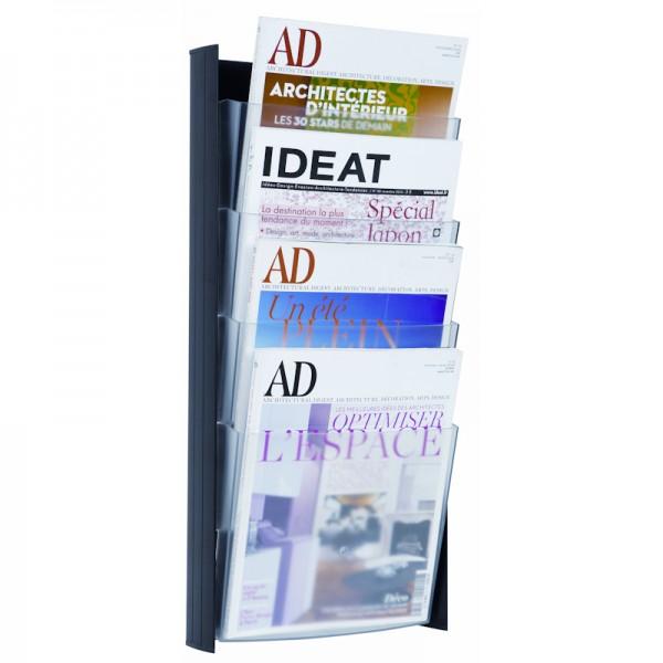 Magazine Rack Wall Mount A4 - Black