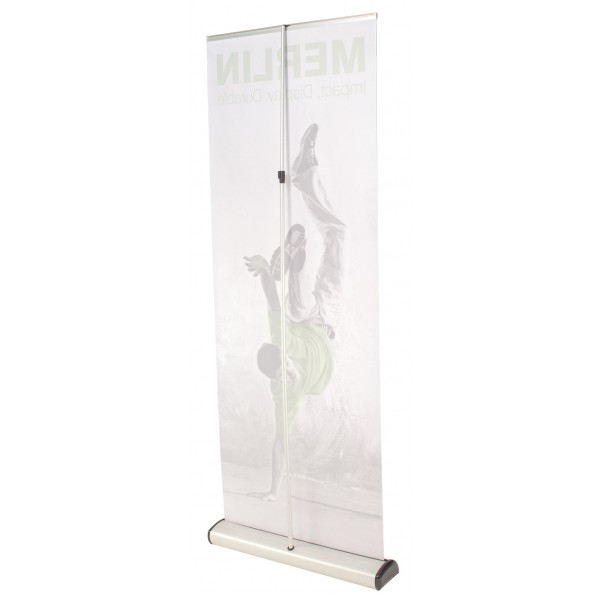 Back view of roller banner stand