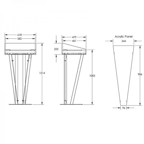 Metal Rostrum Dimensions