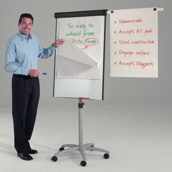 Mobile Flipchart Easel with side arm to hang completed sheets