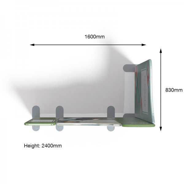Recommended L-Shape Configuration of Modulate™ Stand With Measurements