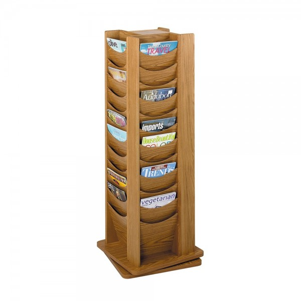 Oak finish literature rack