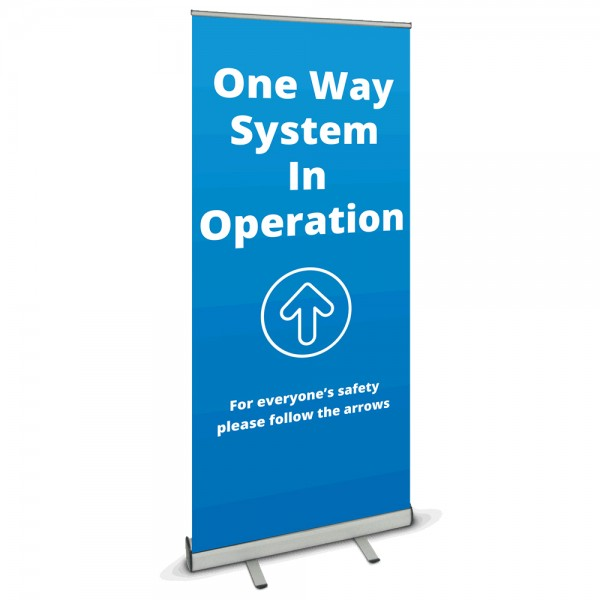 One Way System Banner Stand - Blue