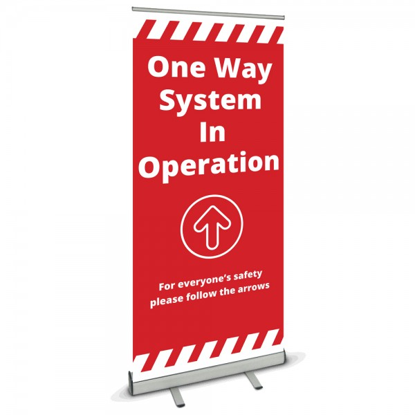 One Way System Banner Stand - Red