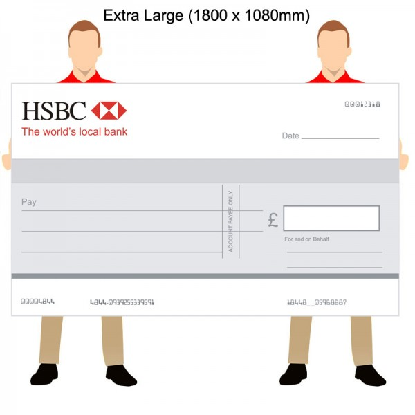 Big Promotional Cheque for Banks - 1800 x 1080mm