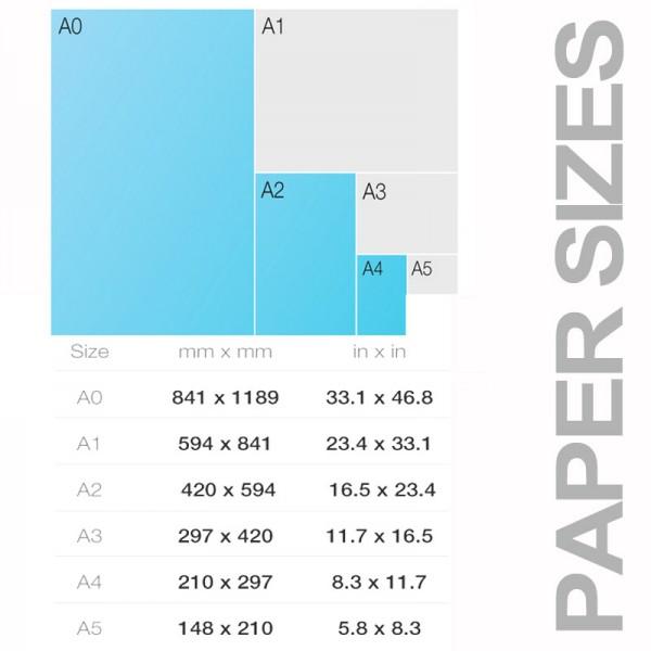 Popular paper sizes