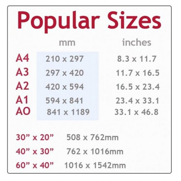Common standard sizes