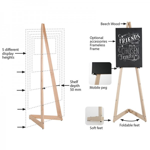 Folding display easel features
