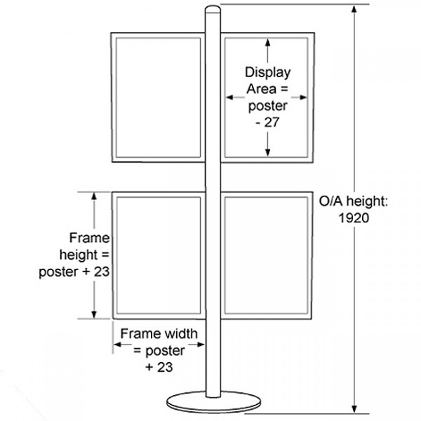 Frame dimensions and overall height
