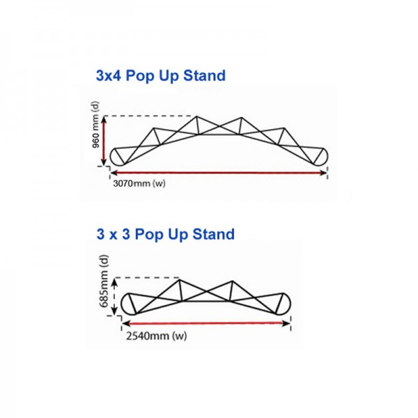 Pop up stand Dimensions