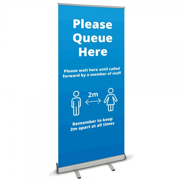 Please queue here banner stand - Blue