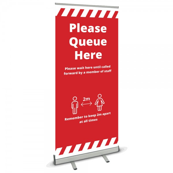 Please queue here banner stand - Red