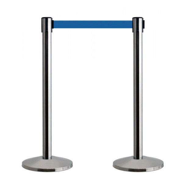 Polished silver retractable barrier