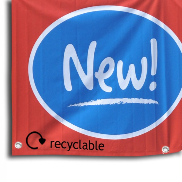 Recyclable banner printed with latex based inks