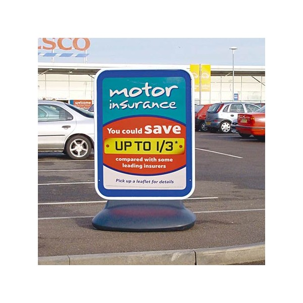 Double sided free standing forecourt pavement sign