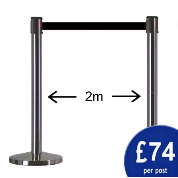 2m Retractable Belt Barrier Pair - Silver Post / Red Tape