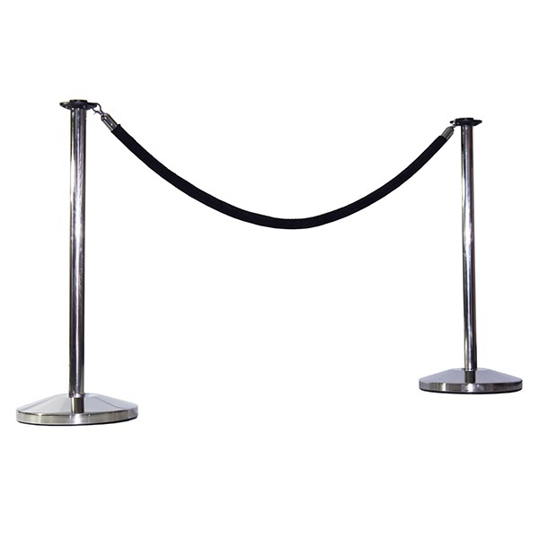 Stainless steel rope and post stanchion queue system