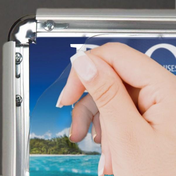 Snap frame with anti glare sheet