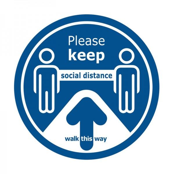 Walk This Way Social Distance Floor Sticker - Blue Background