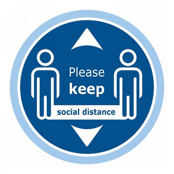 Please Keep Social Distance Floor Sticker - Blue Background