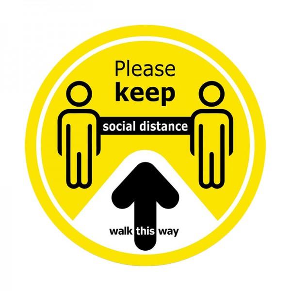 Walk This Way Social Distance Floor Sticker - Yellow Background