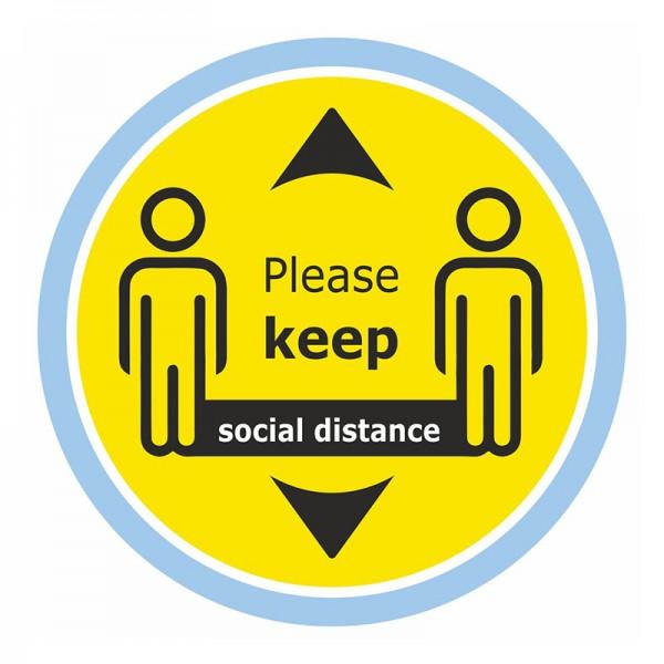 Please Keep Social Distance Floor Sticker - Yellow Background
