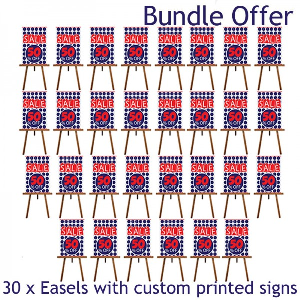30 x A1 signs and pinewood easels