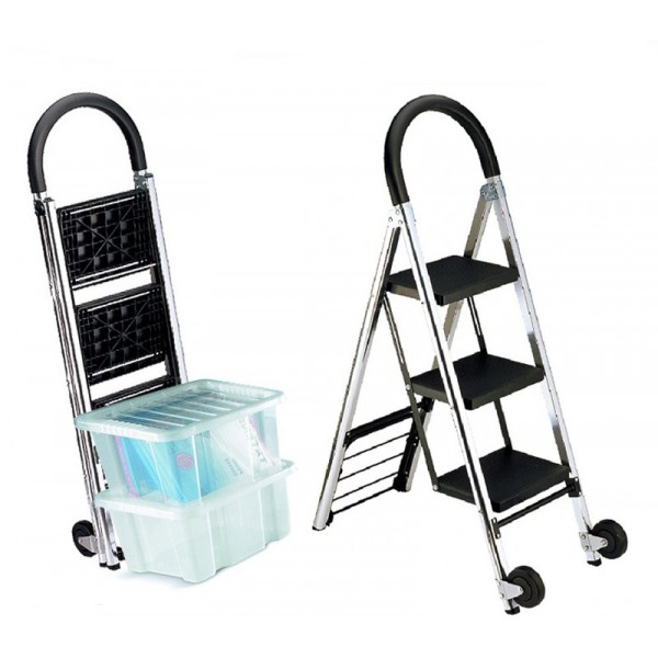 Handy dual purpose folding steps and trolley