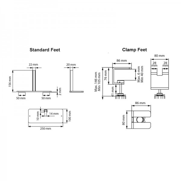 Feet and clamp dimensions