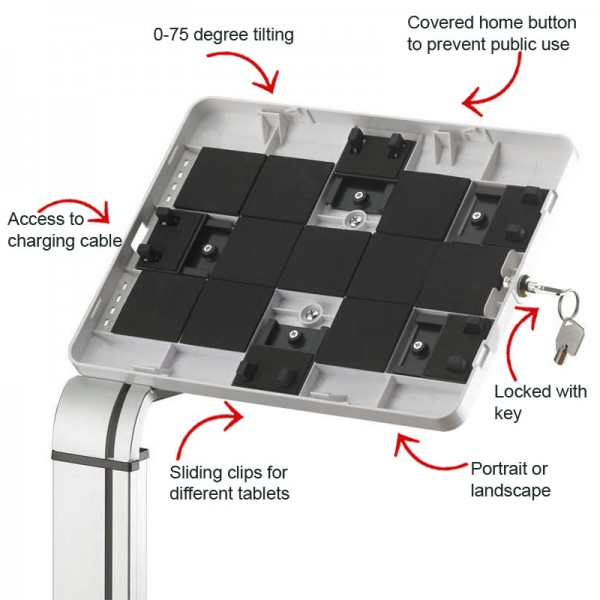 Lockable desktop tablet holder features