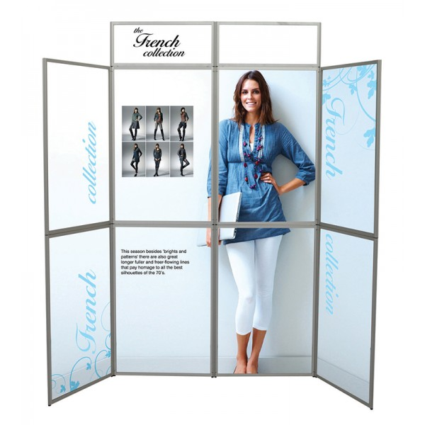Full graphics on folding display boards
