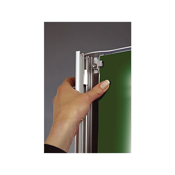 Snap open, snap shut' side trim to access posters