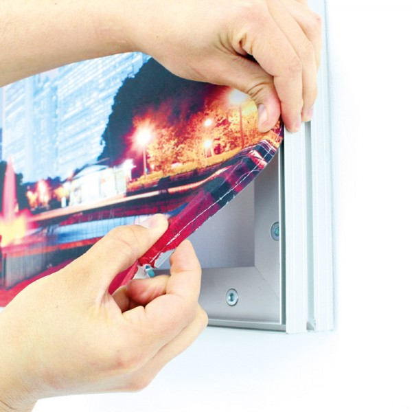 Push-in silicone graphic edge fabric