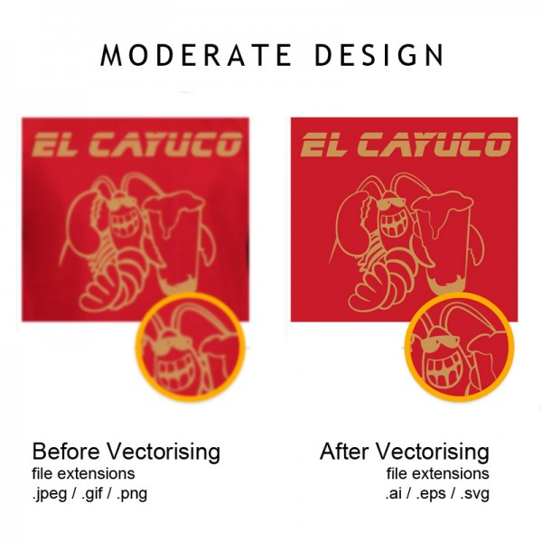 Example of moderate difficulty image before and after vectorising