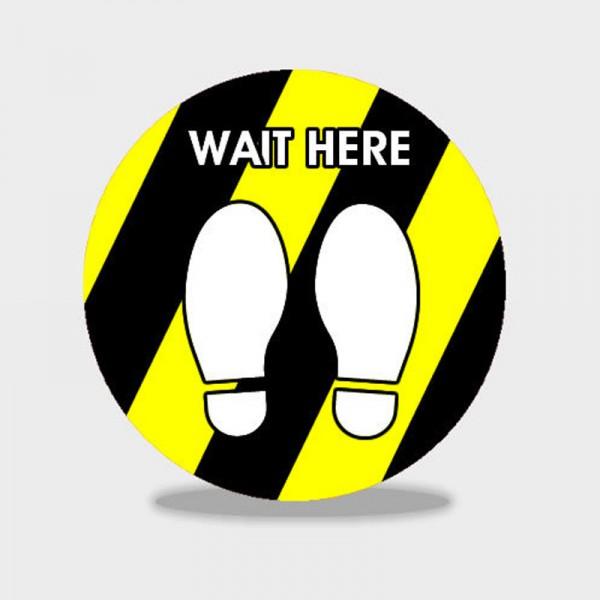 wait here social distancing floor stickers