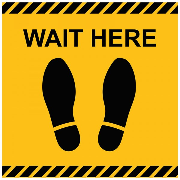 Feet Wait Here Square Floor Stickers - Pack of 6