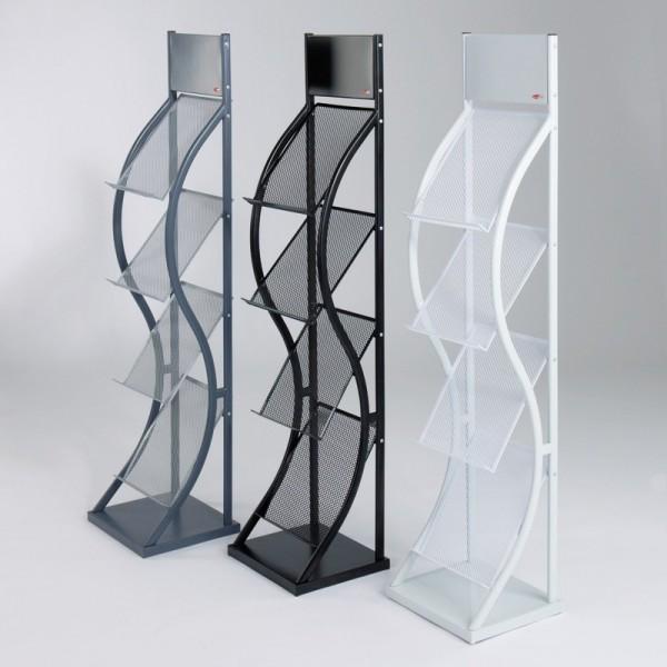 Wave Freestanding Leaflet Dispenser - available in 3 colours