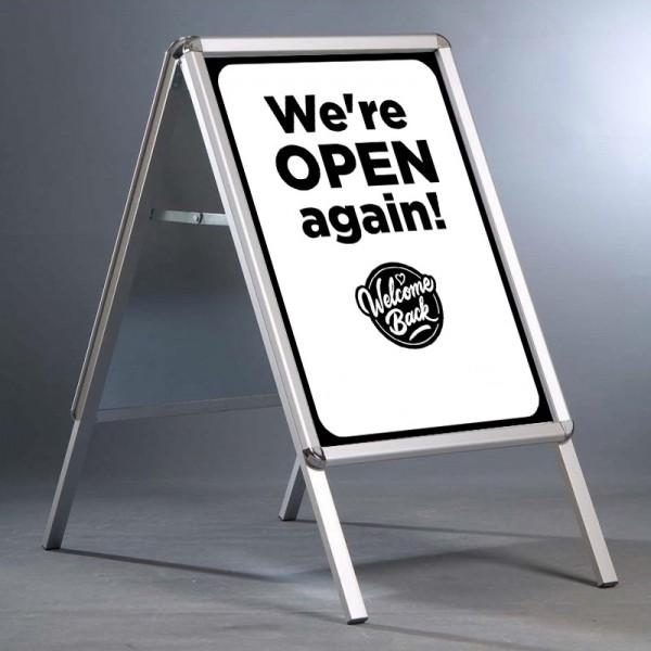 We're open again design retail A-Board - black