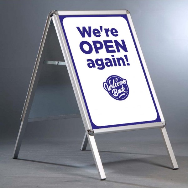 """20x30"""" pavement sign with We're Open Again design - blue"""