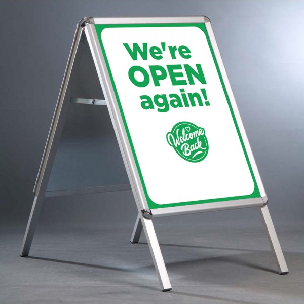 Retail store back open A-board sign - green