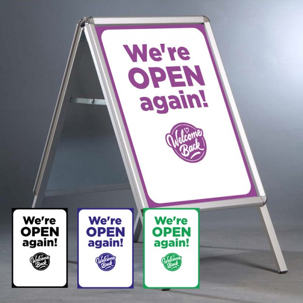 """We're Open Again 20""""x30"""" A Board - INCLUDES POSTERS"""