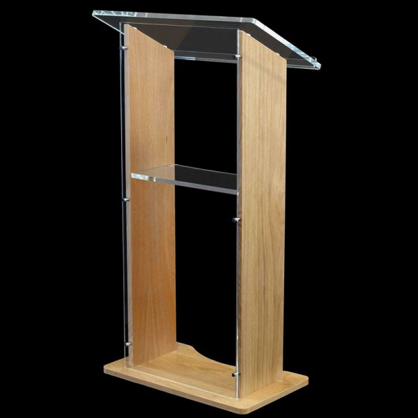 Wood and Acrylic Lectern - Clear Front