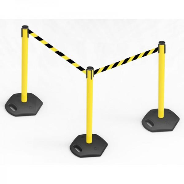 Combine multiple belt barriers together easily